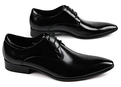 Hombres Negocio Cuero Plano Zapatos Con cordones Primavera Vestir marrón Negro Puntiagudo Soltero Casual Oxfords tamaño 38-44 Black
