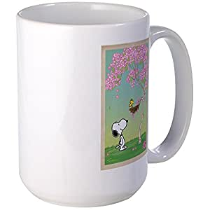 CafePress - Woodstock In The Cherry Blossoms Large Mug - Coffee Mug, Large 15 oz. White Coffee Cup