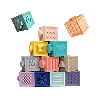 MAD | Baby Blocks Soft Building Blocks Baby Toys Teethers Toy Educational Squeeze Play with Numbers Animals Shapes Textures | Soft Silicon Natural Organic BPA Free Baby Block Set |12 PC Set: Toys & Games