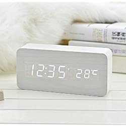Coondmart LED Wooden Alarm Clock, Digital Watch Despertador Desktop Saat Clock,reloj Table Alarm Clock AAA/USB