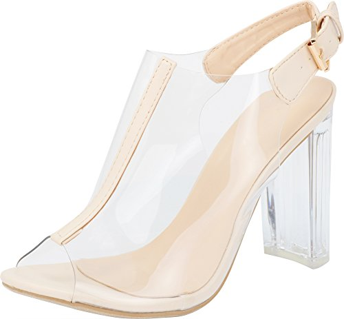 Top Moda Fenton 1 Womens Clear Chunky Heel Peep Toe Lucite Sandals Beige 8 for $<!--$14.46-->