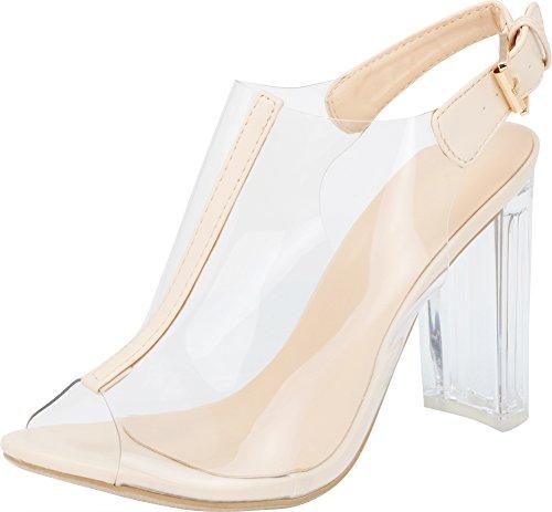 Top Moda Fenton 1 Womens Clear Chunky Heel Peep Toe Lucite Sandals Beige 5