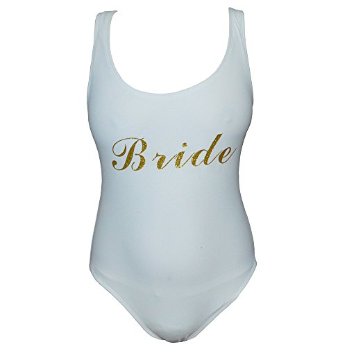 Suits Wedding Brides (Team Bride Letter Print One Piece Swimsuit Women Swimwear High Cut Bathing Suit Sexy Bodysuit Monokini Beach Wear Wedding Party (White Bride, l))