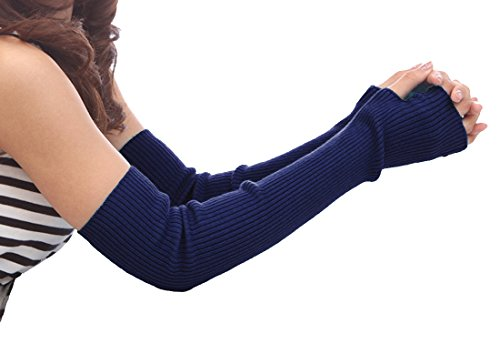 Novawo Women's Solid Wool Fingerless Arm Warmers Gloves with Thumb Hole, -