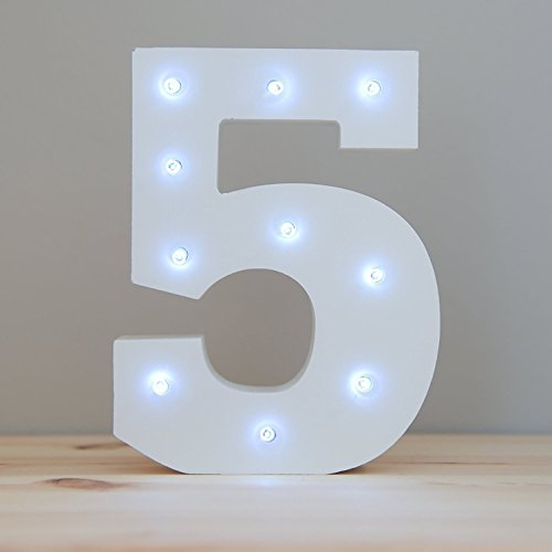 WONFAST Decorative Light Up Wooden Number Letters, White Wood Marquee LED Number Lights Sign Party Wedding Decor Battery Operated Number (5)