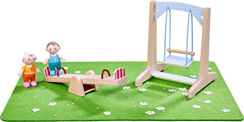 HABA Little Friends Playground Play Set with Swing, See-Saw, Meadow and Two Babies - Bendy Doll Accessory