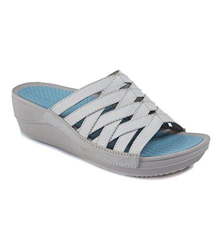 BareTraps Women's Beverly Slide Sandal Gray 5.5 M (Beverly Fabrics)