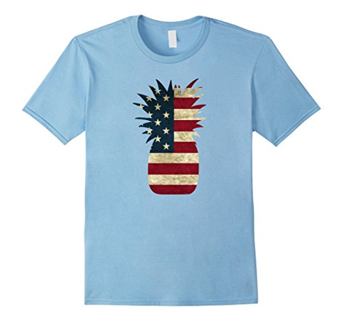 American Pineapple - Mens Pineapple Shirt American Flag Independence Day 4th of July XL Baby Blue