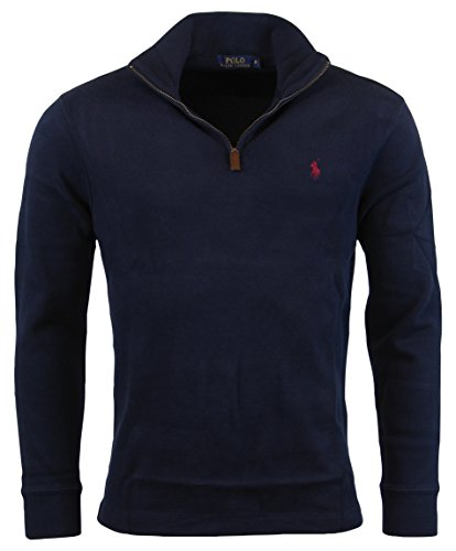 Polo Ralph Lauren Men Half Zip French Rib Cotton Sweater (XL, Cruise Navy)