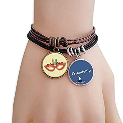 YMNW Orange Mask Happy Carnival Venice Friendship Bracelet Leather Rope Wristband Couple Set Estimated Price -