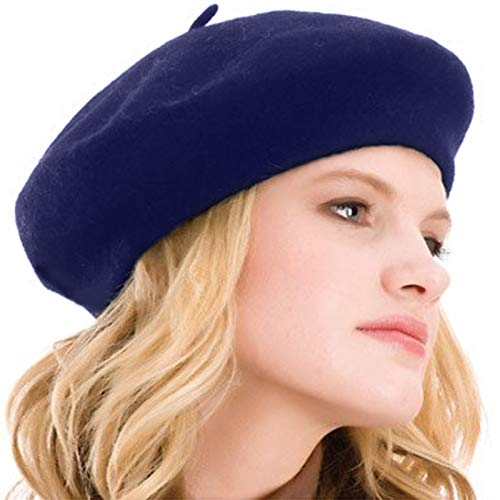 Kimming Womens Beret 100% Wool French Beret Solid Color Beanie Cap Hat Navy Blue