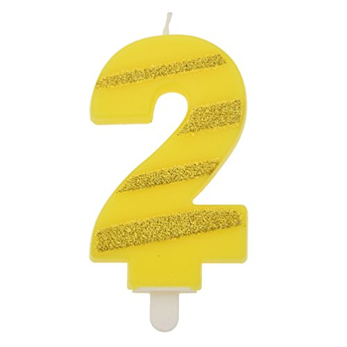 Towashine Number Cake Topper Candle with Golden Twill Figure Glitter for Party Decoration Number 2 (Numbers Twill)