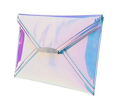 Tears MARKFRAN Envelope Unicorn Handbag Clutch Holographic White Women 5FB5rnq8