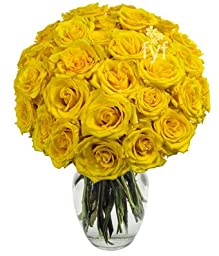 From You Flowers - Two Dozen Yellow Roses (Free Vase Included)