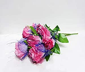 Artificial Flowers Plants Party Decor Bouquet with Glitter on Top