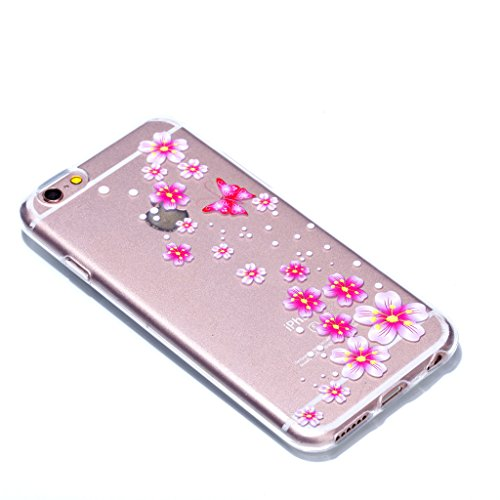 Crisant Case Cover For Apple iPhone 6 6S 4.7'' (4,7''),Joli papillon rose Premium gel TPU souple Très mince Transparent Clair Bumper silicone protection Housse arrière coque étui Pour Apple iPhone 6 6