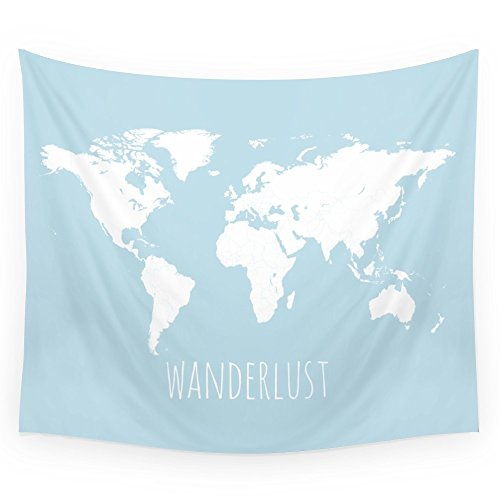Society6 World Map - Wanderlust Quote - Modern Travel Map