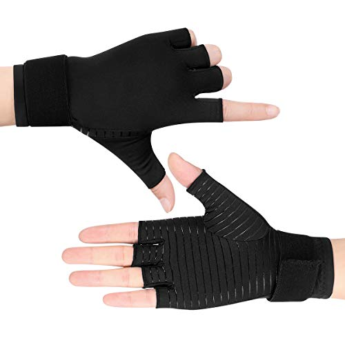 (Healifty Compression Gloves Arthritis Gloves - Copper Fit Gloves for Arthritis Night Sleep Wrist Support Brace, Relieve and Treat Wrist Pain, Ease Muscle Tension, Half Finger (1 Pair) )