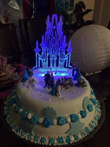 Leoandmena Decoration De Gateau Illuminee Pour Gateau D Anniversaire Motif Chateau De La Reine Des Neiges Amazon Fr Cuisine Maison