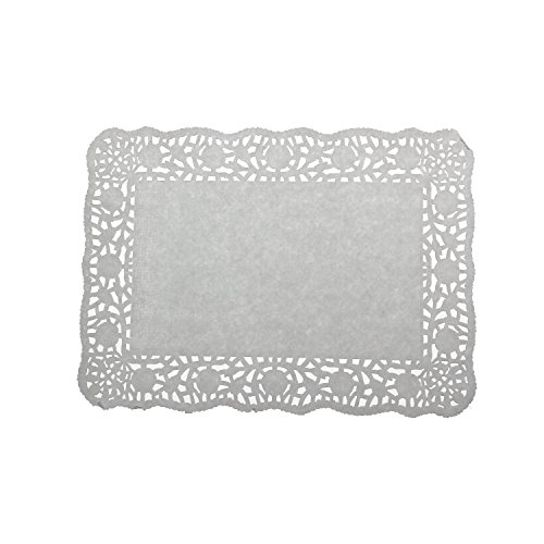 "LJY 100 Pieces Off-White Lace Rectangle Paper Doilies Cake Packaging Pads Wedding Tableware Decoration (8"" x 12"")"