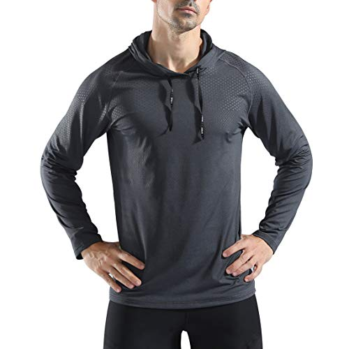 Gerlobal Mens Gym Workout Active Muscle Bodybuilding Long Sleeve Hoodies Casual Hooded Sweatshirts Dark Grey,Medium