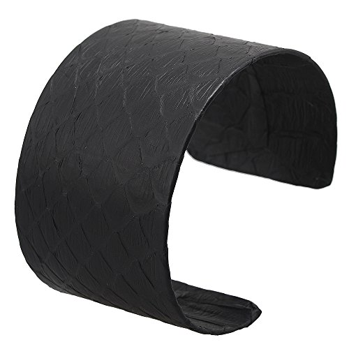 Wide Genuine Leather Adjustable Bracelet Wrap Bangle (Black) - 5