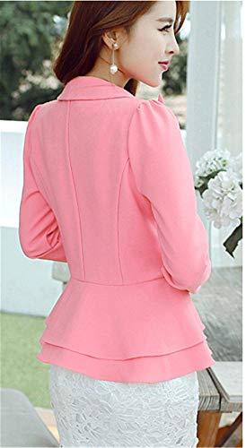 Multistrato Classica Primaverile Monocromo Lunga Blazer Giacca Da Con Giubbino Mode Eleganti Button Tailleur Di Camicia Outerwear Autunno Donna Business Manica Fashion Marca Fit Pink Slim OqTqIXZw
