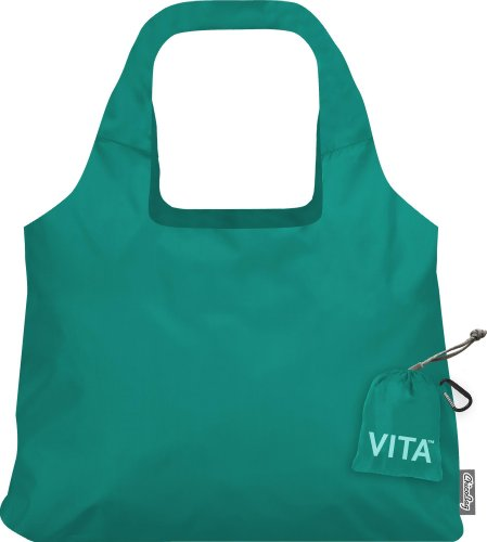 ChicoBag Vita Compactable Reusable Shopping Tote/Grocery Bag with Pouch, Aqua, 19 x 12.5-Inch Bag/4 x 4-Inch Pouch