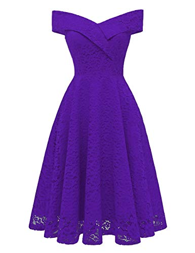 Homecoming Bess Shoulder Bridal Cocktail Dress Prom Short Lace Off Purple Women's PPTRqwp0