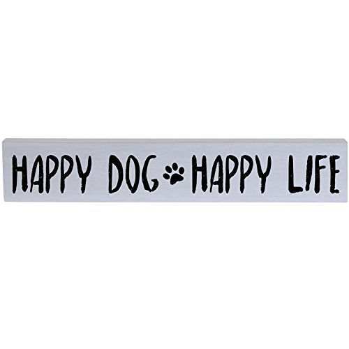 Dog Holiday Sign (Happy Dog Happy Life Pet Gifts for Dogs Inspirational Pine Block Quotes for Pet Lovers Gift ideas for Women Men kids 3.5
