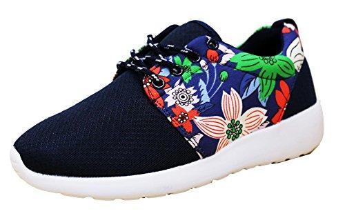 - S-3 Women's Floral Print Mesh Athletic Fashion Sneaker (7 B(M) US, Navy)