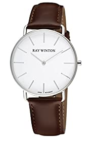 Ray Winton Men's Slim White Analog Dial Dark Brown Leather Strap Watch