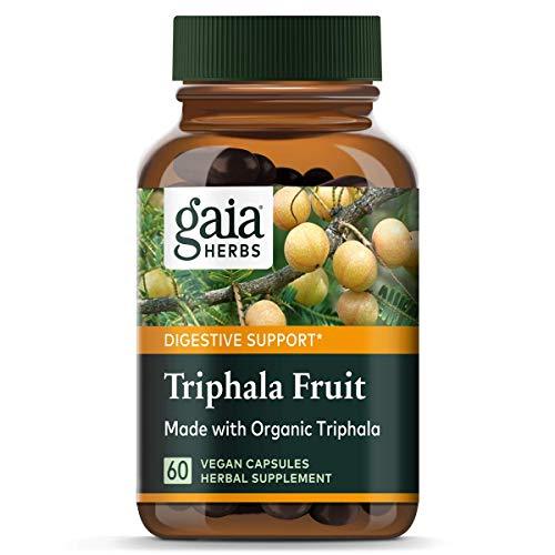 Gaia Herbs Triphala Fruit, Vegan Capsules, 60 Count - Organic Digestion Tonic for Gentle Daily Detox, Helps Maintain Normal Regularity
