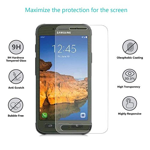 Galaxy S7 Active Glass Screen Protector, eTECH Collection Crystal Clear Tempered Glass Screen Protector for Samsung Galaxy S7 Active (NOT S7 Model) - 2.5D Rounded Edges/Scratch Proof/Bubble Free