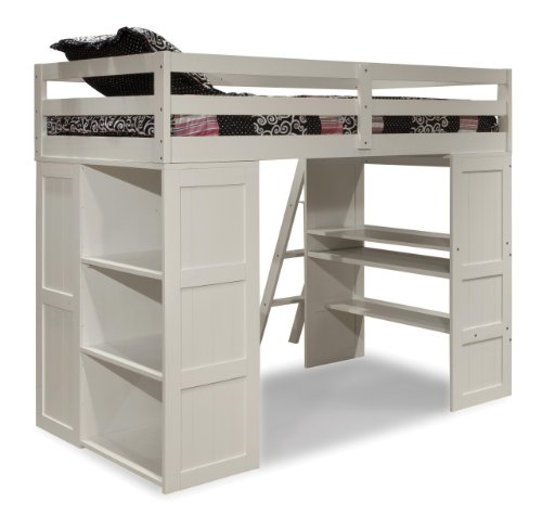 Canwood Skyway Loft Bed with Desk and Storage Tower, Twin, White