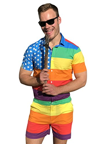 Zesties Pride Romper - Gay Pride Rainbow Male Romper (Small, American Patriot)