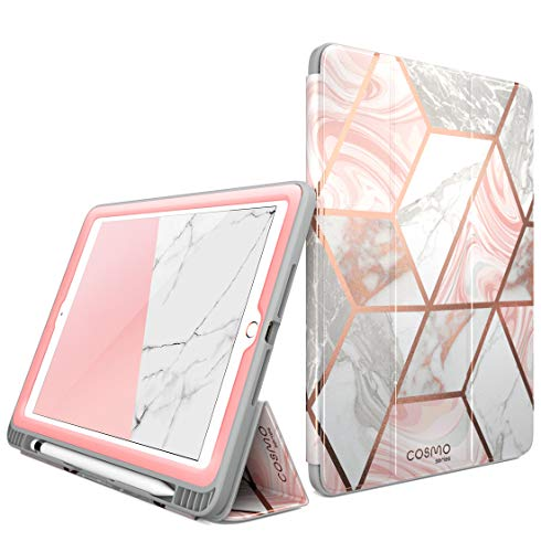 - i-Blason Case for iPad 6th Generation, iPad 9.7 Case 2018/2017, [Built-in Screen Protector] Full-Body Trifold [Cosmo] Smart Cover with Auto Sleep/Wake & Pencil Holder for Apple iPad 9.7 Inch (Marble)