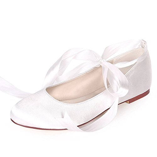 Bridesmaids Heel Low Shoes Heels Wedding L Platform YC Fashion 0 Toe Women Closed White Ribbon Like 6cm wSZHxCxRq