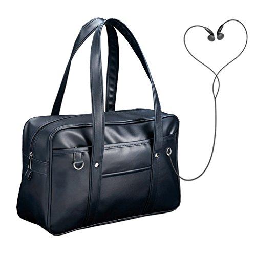 Vbiger Student Schultertasche PU Leder Handtasche Klassische Aktentasche für Männer und Frauen Schwarz