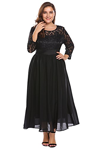7758f0ed90c4 ... Women Plus Size Lace Floral Hollow 3 4 Sleeve Party Evening Maxi Dress.    