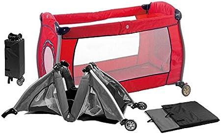 Cuna viaje bebe PLEGABLE. INCLUYE: Cuna+Mosquitera+Somier+Bolsa transporte. Con 2 ruedas para facilitar su desplazamiento. Color Rojo. Mobibe, ...