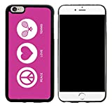 Rikki Knight Peace Love Tennis Rose Pink Color Design iPhone 6/6s Plus Hybrid Case Cover, Black