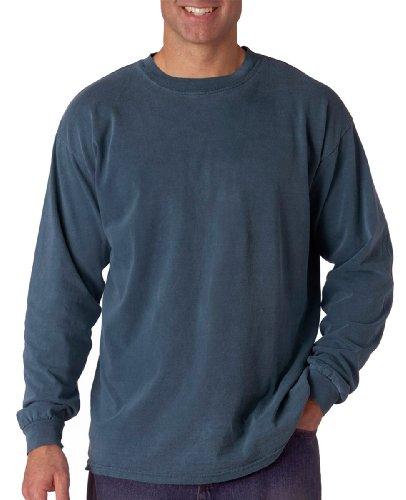 Komfort Färger Mens Ringspun Plagg-färgade Lång-muff T-skjorta (c6014) Xx-stora, Denim