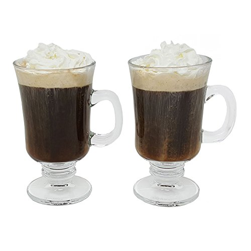 Irish Coffee Glass Coffee Mugs Footed Regal Shape 8 oz. Set of 2 Thick Wall Glass Cappuccinos, Mulled Ciders, Hot Chocolates, Ice cream and More! ()