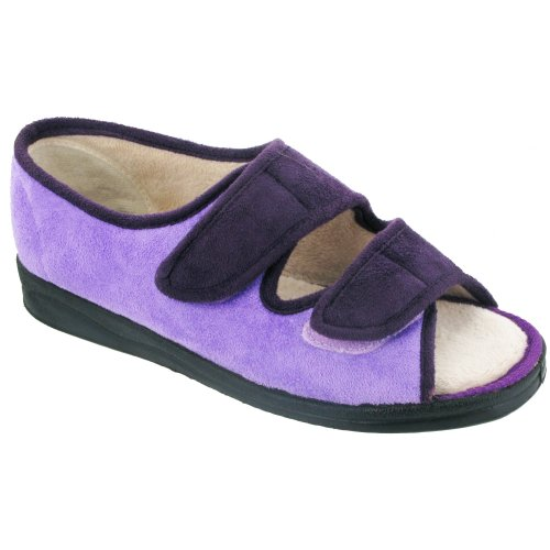 Mirak Louise Touch Fastening Open Toe Slipper / Ladies Slipper / Womens Slippers Purple 2NwSEfV