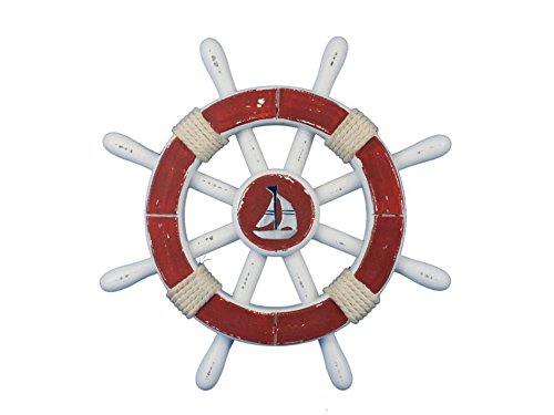 (Rustic Red And White Decorative Ship Wheel With Sailboat 12