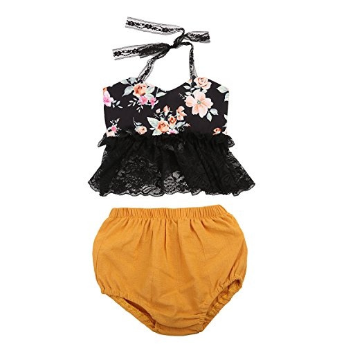KIDSA 0-2T Baby Girl Lace Floral Halter Backless Crop Top + Short Pants Summer Outfits Set (Infant Girl Halter Top)