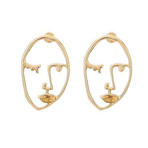 Picasso Earrings (Zealmer Statement Face Outline Earrings Hollow Out Dangling Color Gold Stud Earrings)