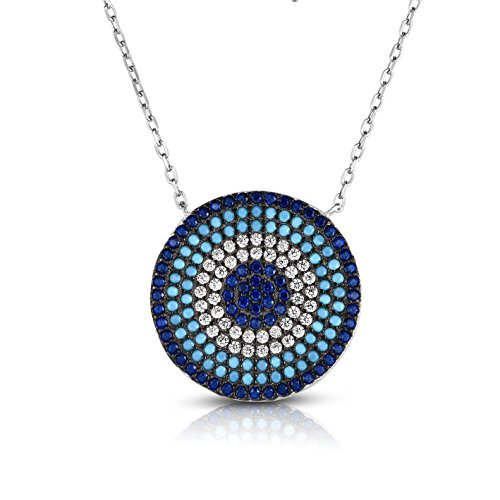 Sterling Silver Turquoise/Created Sapphire/CZ Circular Nano Pendant Necklace with Adjustable Length 16