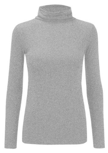 Camiseta de manga larga para Plain acanalado tortuga cuello Top para mujer Casual Basic Polo cuello Top tamaños 8–�?4 gris